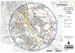 isodistance de 5000m autour de la gare de Labège-Innopole