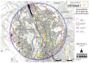 isodistance de 5000m autour de la gare de Lacourtensourt