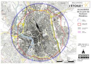 isodistance de 5000m autour de la gare de Toulouse-Matabiau